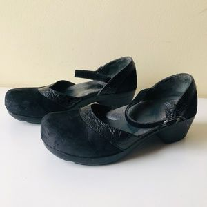 Dansko Clogs Shoes  Black Suede Leather Mary Jane